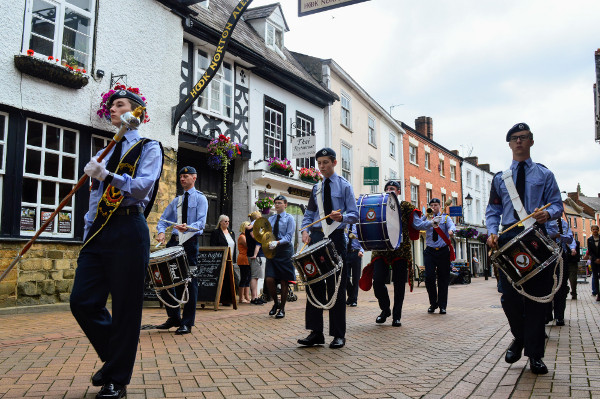 The Air Cadet band leads the parade through Parsons Street Banbury