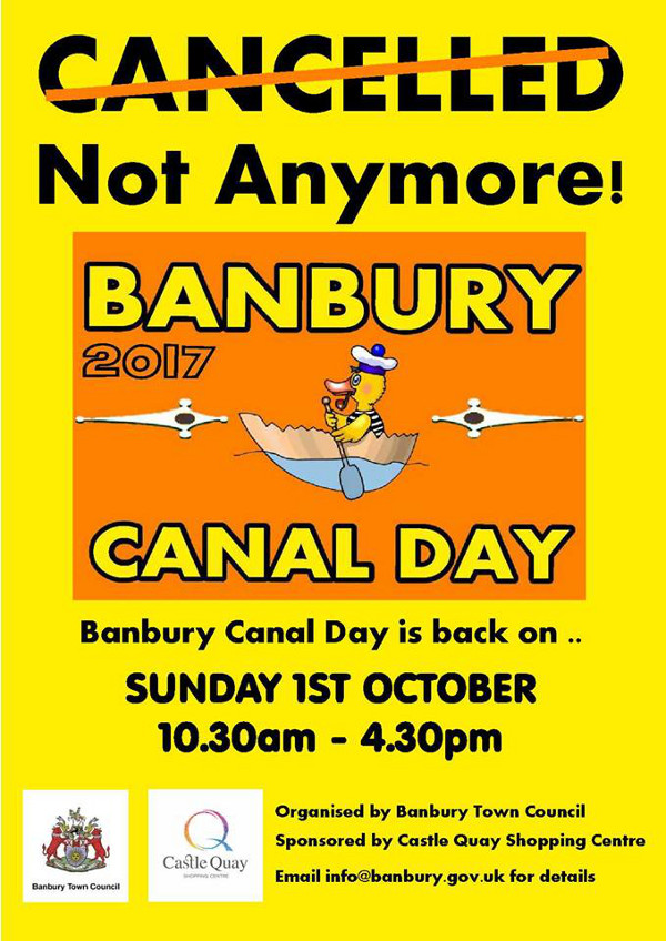 Banbury Canal Day 2017 is back on.