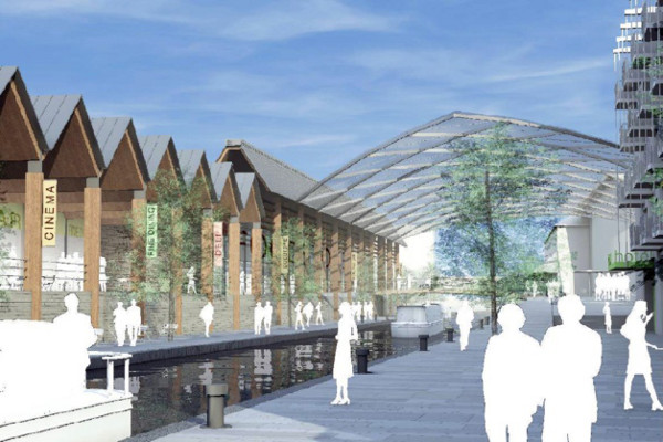 an artist's impression of the castle quay extension