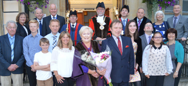 Rosemarie with her family, mayor Colin Clarke, the macebearers and town clerk Mark Recchia