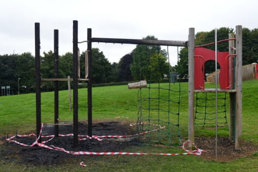 Thames Valley Police is appealing for information after a playground was set on fire in Banbury.