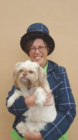 Banbury Academy Principal, Sylvia Thomas, poses with her four legged co-star, Dora