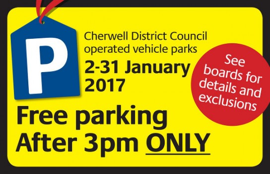 Free parking from 3pm in Cherwell District Council car parks throughout January.