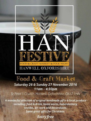 Festive food & craft market with folk night comes to Hanwell near Banbury this weekend.