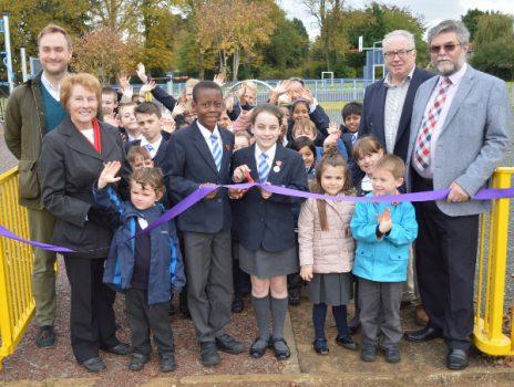 cuttig the ribbon to open the new Easington Rec play area