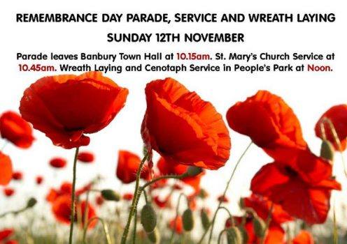 Remembrance Day in Banbury will be on Sunday 12 November.