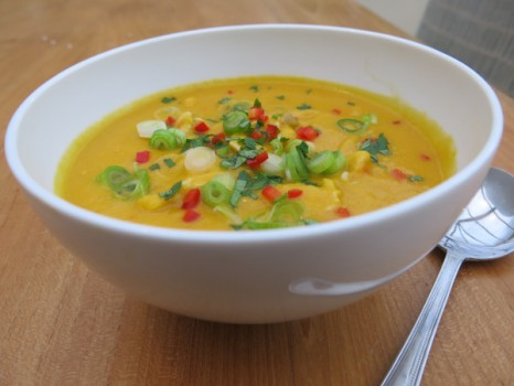 Sweet potato, coconut & chicken soup by Tanya Young. Owner and chef, at Knife and Fork in Bicester.