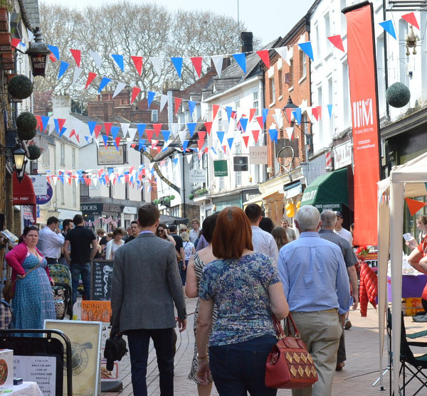 A packed Parsons Street Banbury 7th May 2016