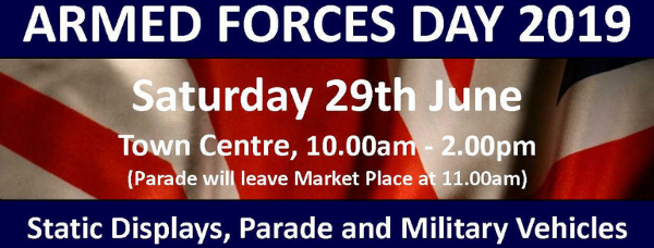 Armed Forces Day, organised annually in the town centre from 10am to 2pm, will include military demonstrations, static displays, and military vehicles.