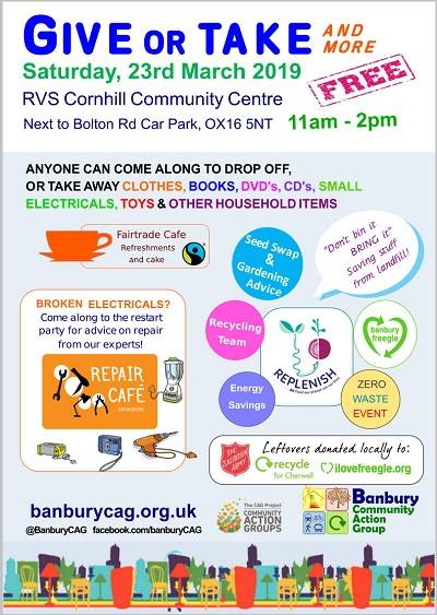 Give or Take & Repair Cafe. Hosted by Banbury Community Action Group and Banbury Freegle