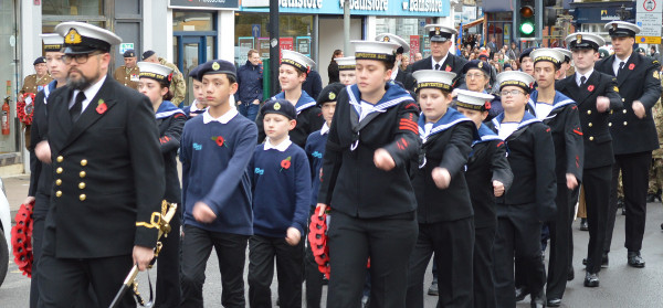 The military and civic procession Remembrance Day parade in Banbury 2017