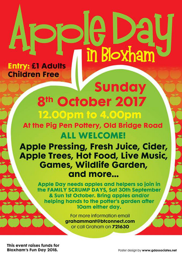 Apple Day is an annual community event held in Bloxham and organised by the Bloxfest committee.