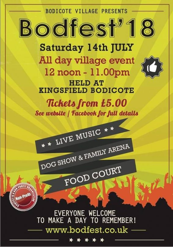 BodFest 18 July 14th Kingsfield Bodicote