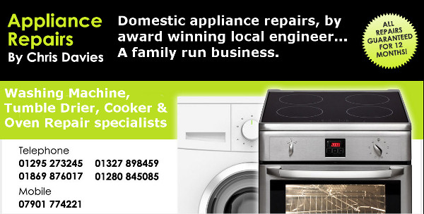 Chris Davies Appliance Repairs. Washing Machine, Tumble Driers, Cooker & Oven Repair specialists