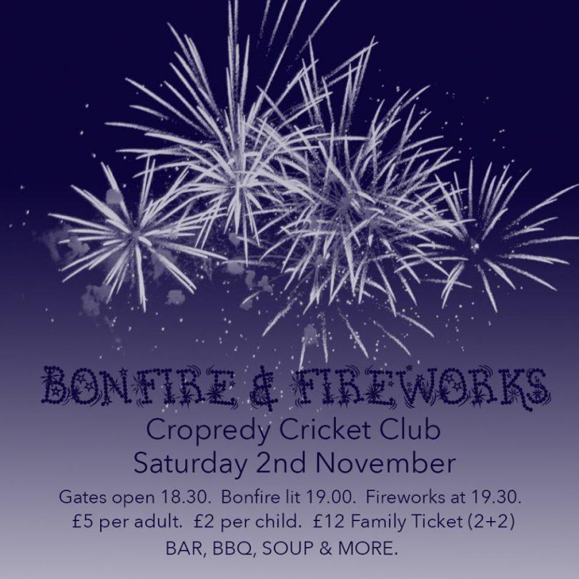 Cropredy Cricket Club Annual Bonfire, Fireworks & BBQ.