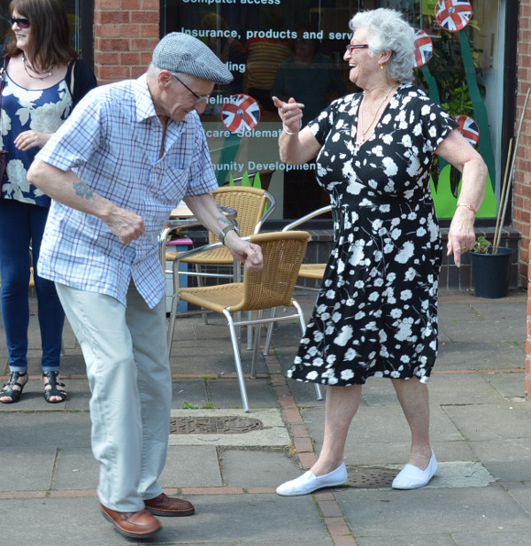 Dancing to the music in White Lion Walk Banbury