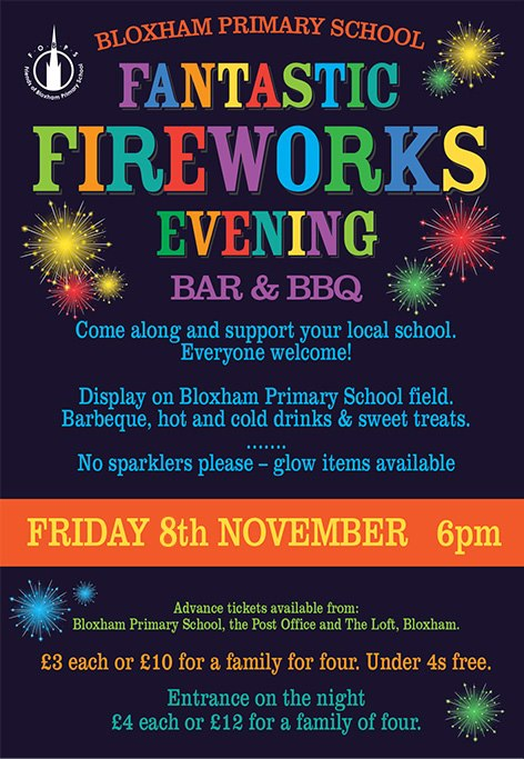 Don't miss the ever popular Fantastic Fireworks Night on Friday 8th November at Bloxham Primary School.