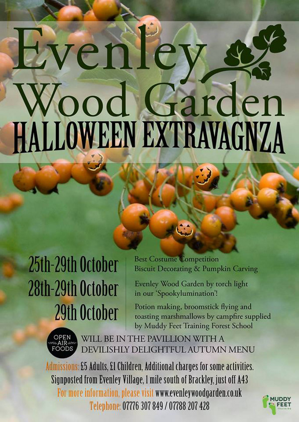 From the 25th October till 29th October Evenley Wood Garden will be transformed into a Halloween Extravaganza.