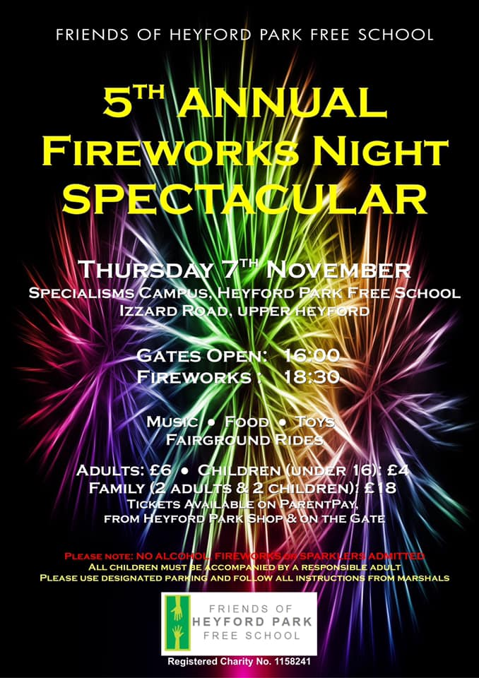 Heyford Park Free School Fireworks and Bonfire Night.