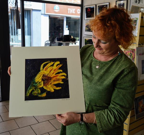 the beautifully talented Artist Karen Baum in Church Lane Gallery Banbury.