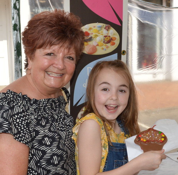 Lena Plaice with grand-daughter Leonie, 11, at the Have a Go With Chocolate stall.