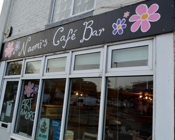 Outside Naomi;s Cafe Bar in Banbury