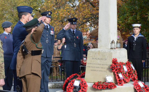 Over 50 wreaths were placed around the cenotaph in People's Park Banbury.