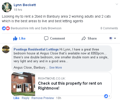 Pontings Residential Lettings answer a request on the Banburyshire Info facebook group