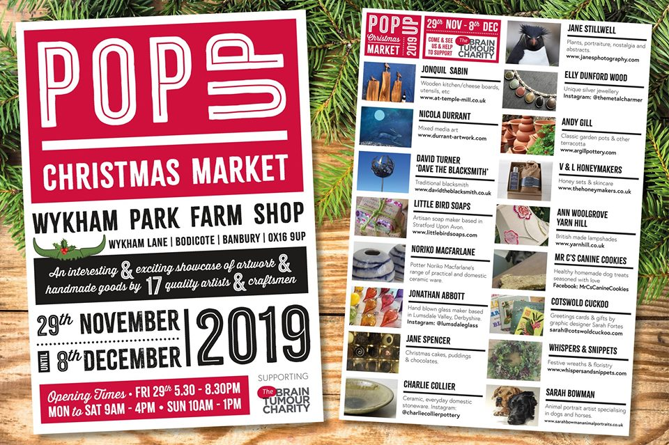 The Christmas Pop  Market at Wykham Farm will run from Friday 29th November to Sunday 8th December.
