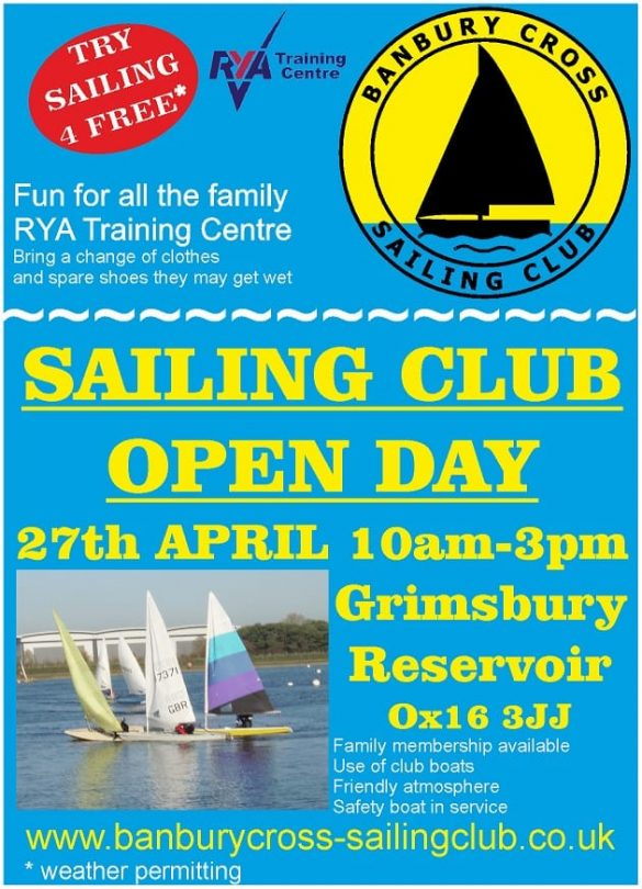 The Banbury Cross Sailing club is an RYA training Centre, located just minutes from Banbury town centre.