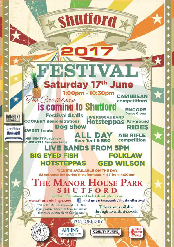 Shutford Summer Festival a fantastic family day out starts at 1:00 pm.