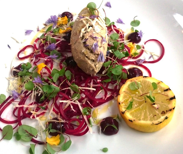 Smoked Mackerel pate, served with beetroot, sorrell and brown bread
