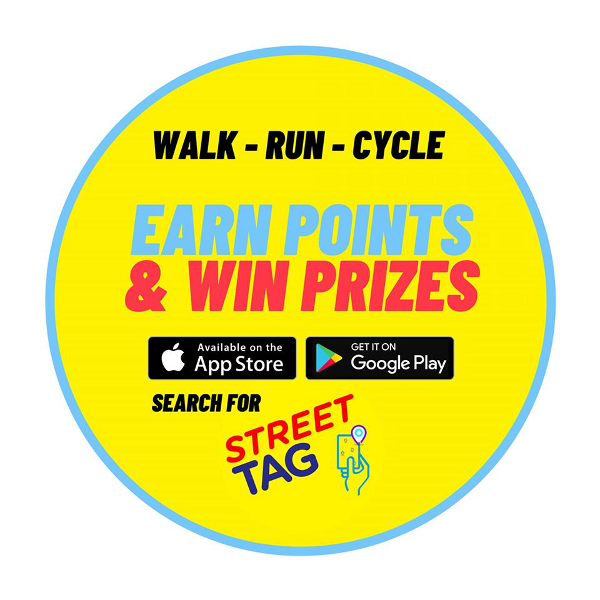 The virtual tags will be placed in popular walking routes and areas with green space to encourage players to get around on foot or bike.