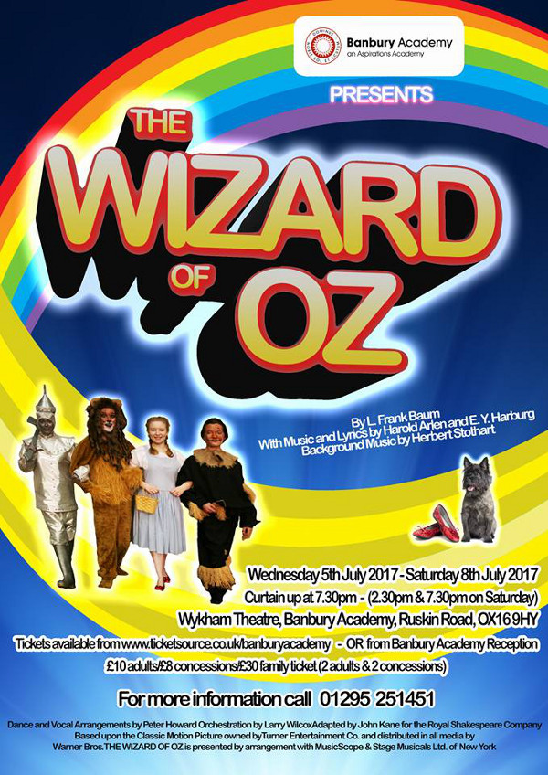The production of Wizard of Oz takes place 5th July 2017 until 8th July 2017