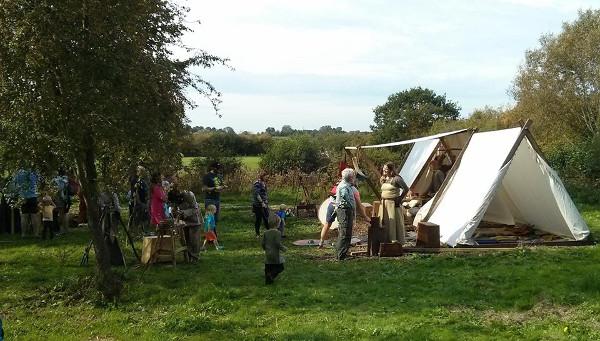 Viking and Anglo-Saxon living history display.