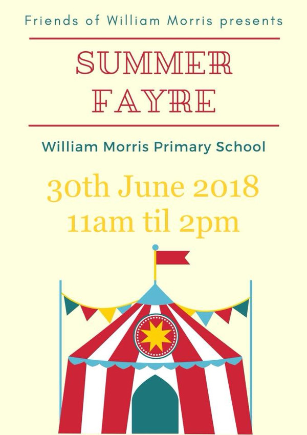 Come along to William Morris primary school annual summer fayre.