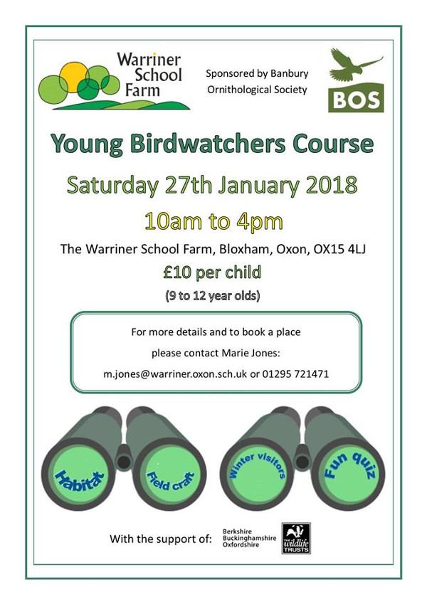 Young Birdwatchers Course Hosted by Warriner School Farm