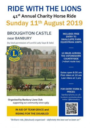 Banbury Lions' 41st annual charity horse ride will start at Broughton Castle and cover 10 miles of beautiful countryside