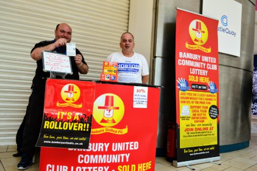 Kev Preedy & Ken Hopkins on Banbury United Football Club lottery stand
