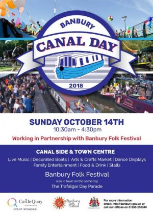 Banbury Folk Festival, Banbury Canal Day, and the district Trafalgar Day Parade on October 14th 2018
