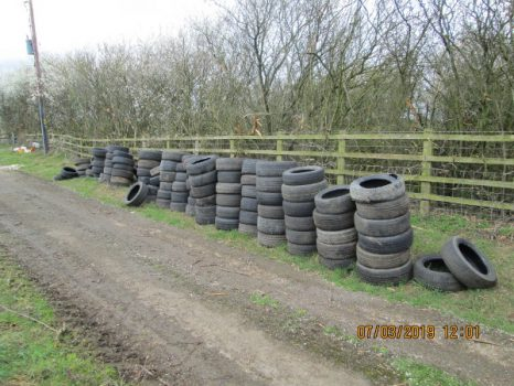 Tyres illegally dumped near Fritwell.