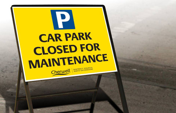 Cherwell District Council car parks repair warning.
